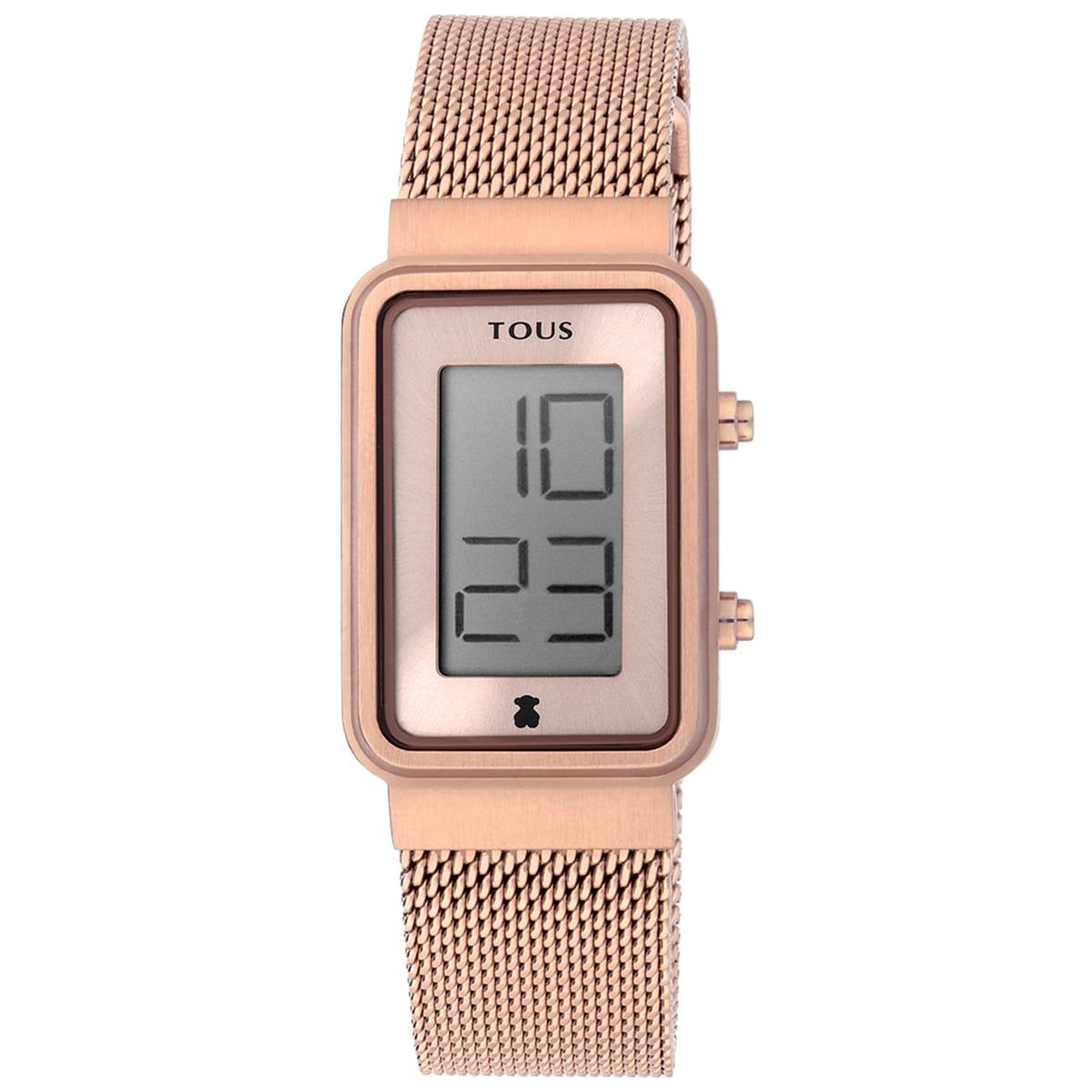 Reloj Digisquared Mesh de acero IP rosado