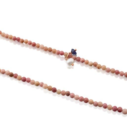Collar Camille de Plata Vermeil rosa con Iolita y Perla