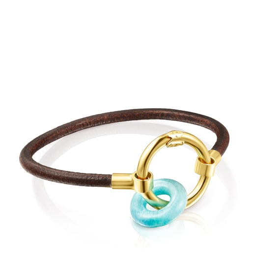 Hold Gems Silver Vermeil and Leather Bracelet with Amazonite