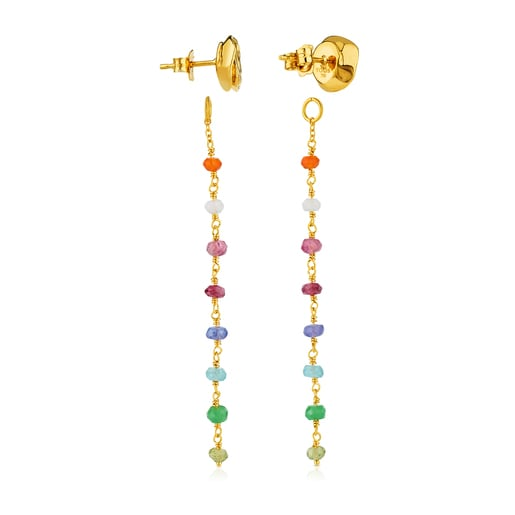 Gold New Romance Earrings with Gemstones