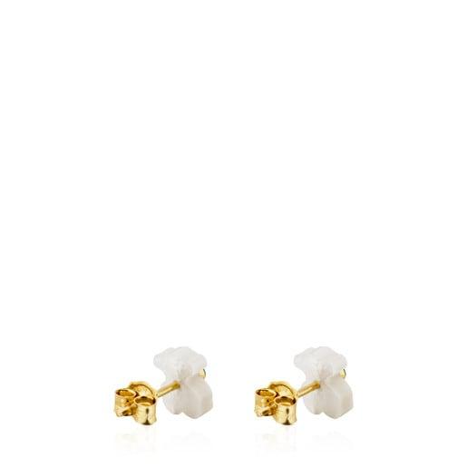 Boucles d'oreilles Super Power en Or et Nacre avec Amazonite