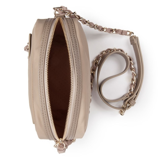 Taupe colored Canvas Brunock Chain Crossbody bag