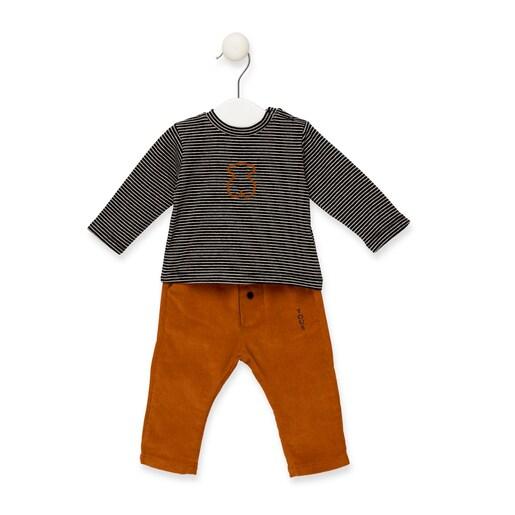 Conjunto camisola e calças Print Cinzento