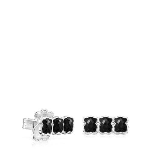 Aros Mini Onix de Plata con tres osos de Ónix