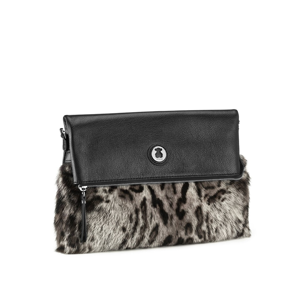 Clutch Smooth de Piel en color gris