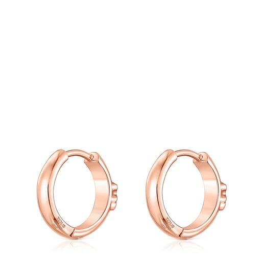 Creolen TOUS Basics mit Bär aus rosa Vermeil-Silber
