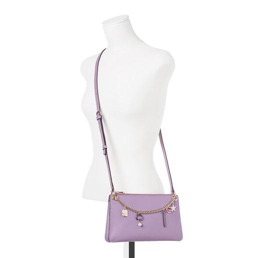 Bandolera New Liz Pendants violeta de piel
