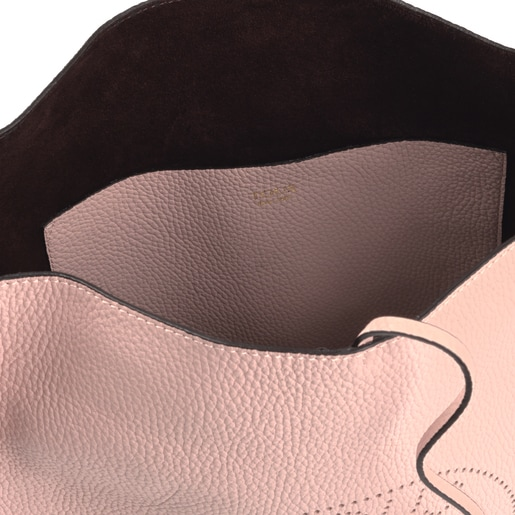 Große Umhängetasche Leissa aus Leder in Blassrosa