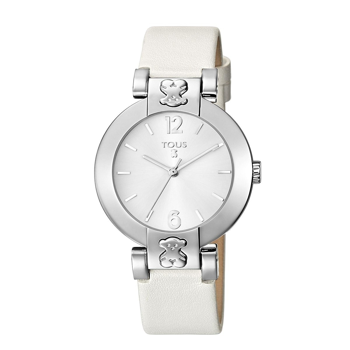 Steel Plate Round Watch with white Leather strap