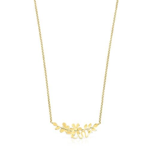 Silver Vermeil Real Mix Leaf Necklace