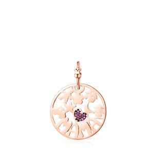 Large TOUS Mama Pendant in rose Gold Vermeil with Ruby