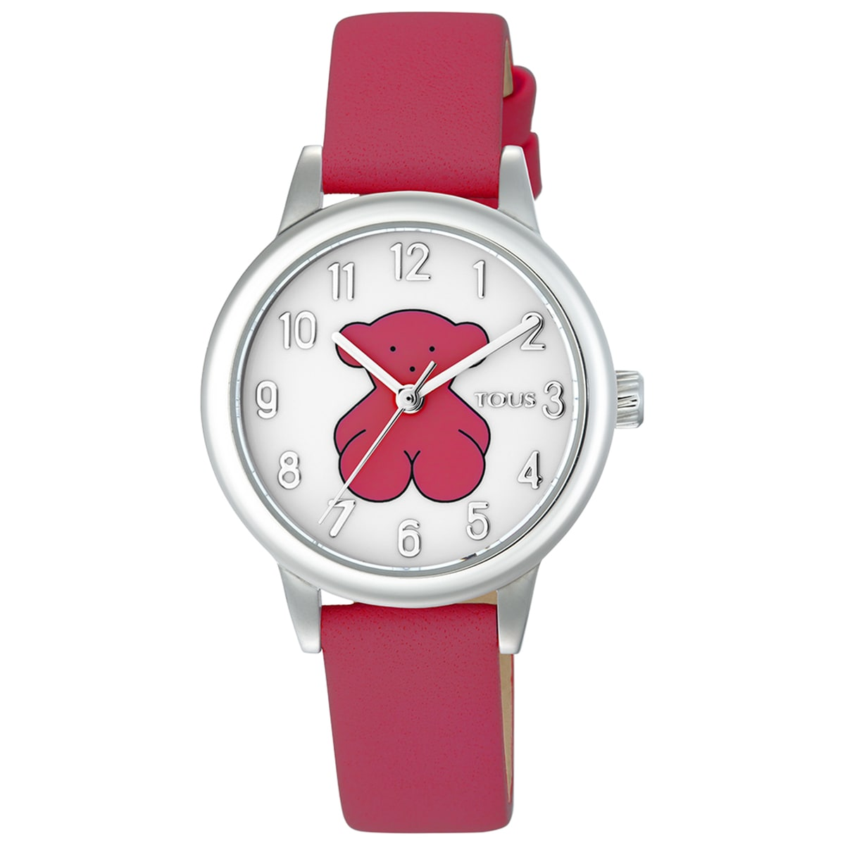 Steel New Muffin Watch with fuchsia Leather strap