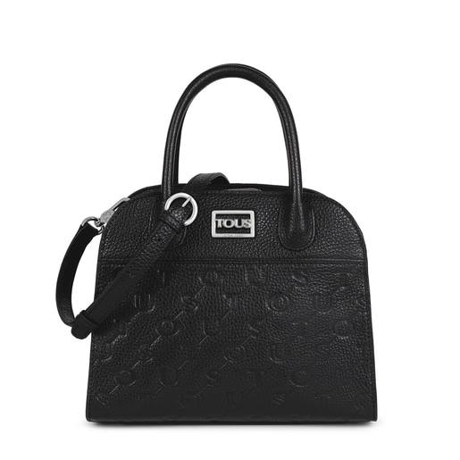 Small black Leather T Script City bag