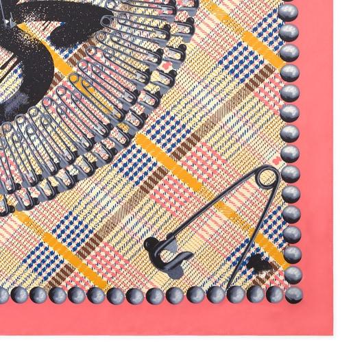 Pañuelo Tile Exene blanco y rosa