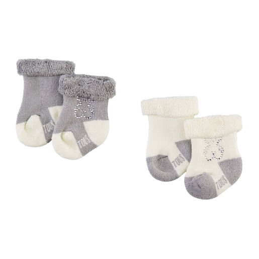 Conjunto de peúgas Urso strass Sweet Socks Cinzento