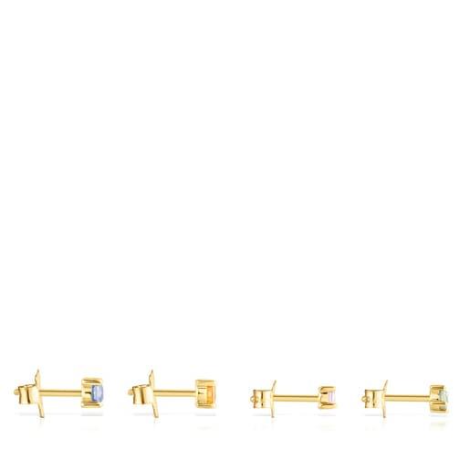 Pack de Pendientes Glaring de Plata Vermeil con Zafiros multicolor