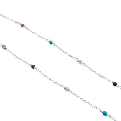 Collar Super Power de Plata con Gemas multicolores 40cm.