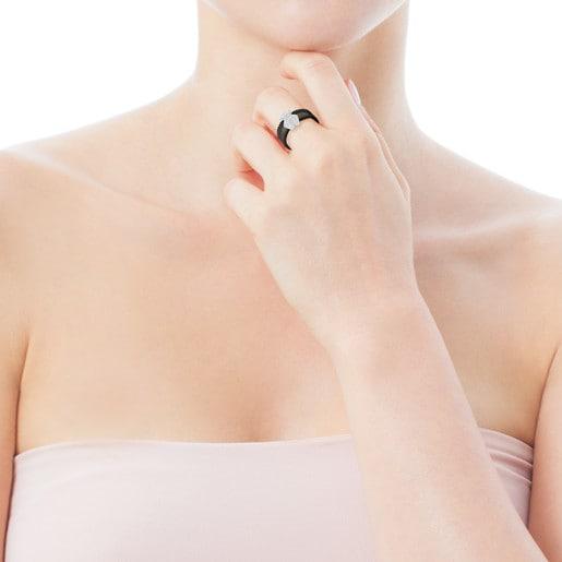 Anillo Icon Mesh de Acero y Oro blanco con Diamantes