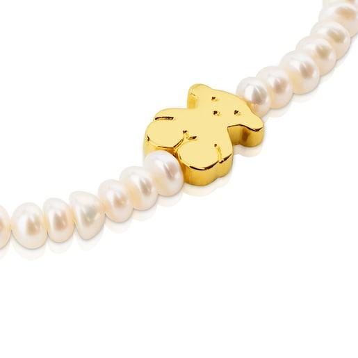 Pulsera elástica TOUS Sweet Dolls de Oro y perlas motivo Oso de 1,15cm.