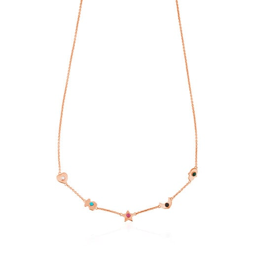 Rose Vermeil Silver Super Power Necklace with Gemstones