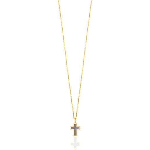Kreuz-Halskette XXS aus Gold und Perlmutt