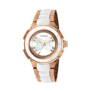 Rellotge Xtous Lady bicolor d'acer IP rosat/blanc amb corretja de silicona blanca