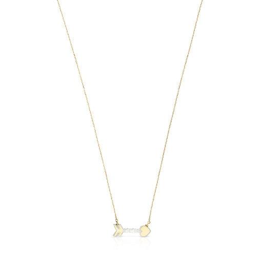 Collar San Valentín flecha de Oro y Nácar