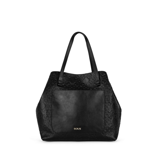 Medium black colored Leather Mossaic Tote bag