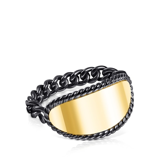 Dark Silver and Silver Vermeil Minne Ring