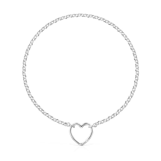 Hold Silver oval heart Necklace