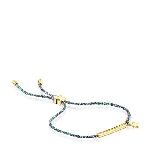 Silver Vermeil TOUS Good Vibes star Bracelet with green Cord