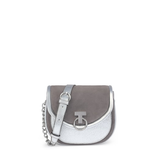 T Hold Chain silver-colored leather crossbody bag