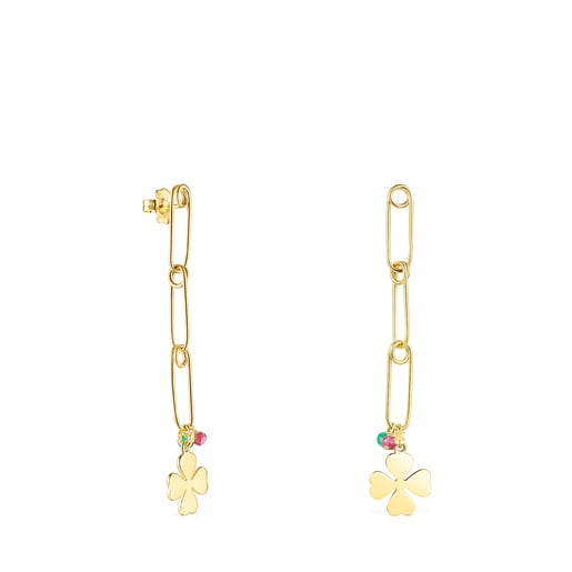 Long Silver Vermeil TOUS Good Vibes Earrings with Gemstones