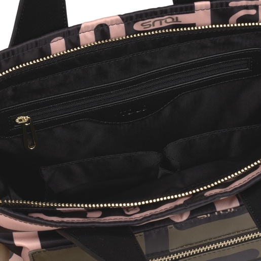 Small khaki and pink Shelby Logogram Tote bag
