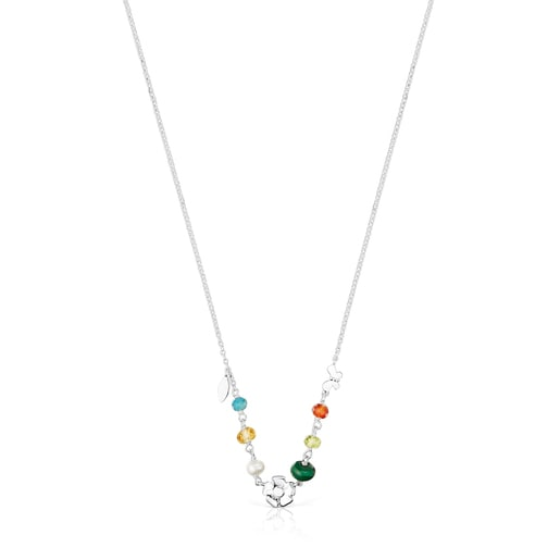 Silver Fragile Nature Necklace with Gemstones