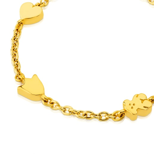 Gold Sweet Dolls Bracelet with Flower, Tulip, Heart and Bear motifs
