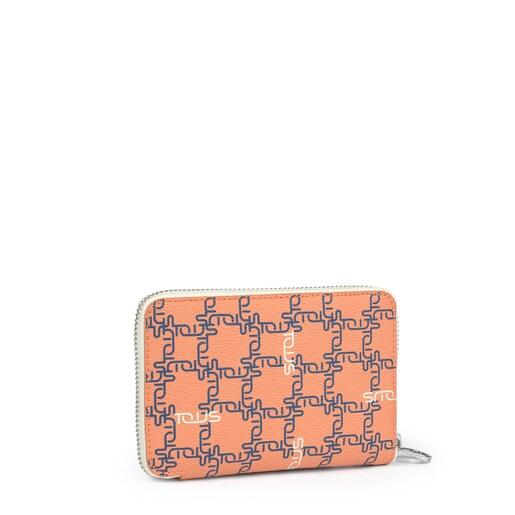Billetera pequeña Tous Logogram naranja-beige