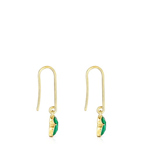 Long Silver Vermeil and Malachite Icon Color Earrings