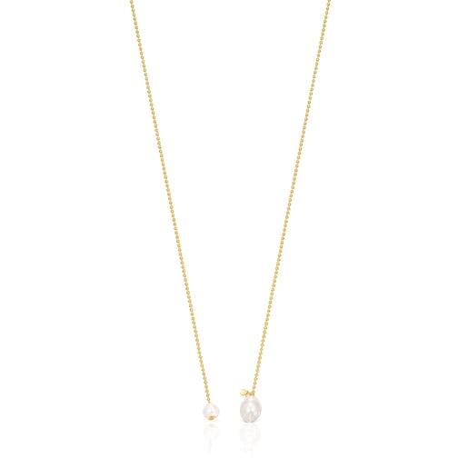 Collar abierto Gloss de plata vermeil y perlas