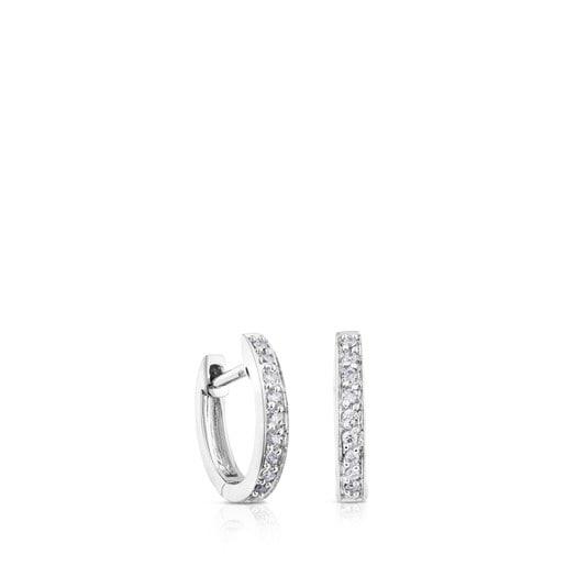 Pendientes aro Les Classiques de Oro blanco con Diamantes