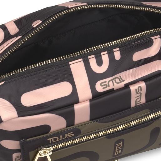 Bandolera mediana Shelby Logogram caqui y rosa