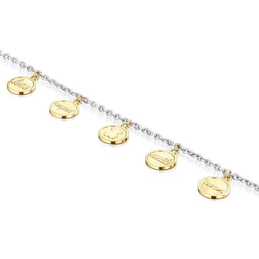 Armband TOUS Good Vibes Medaillons aus zweifarbigem Stahl