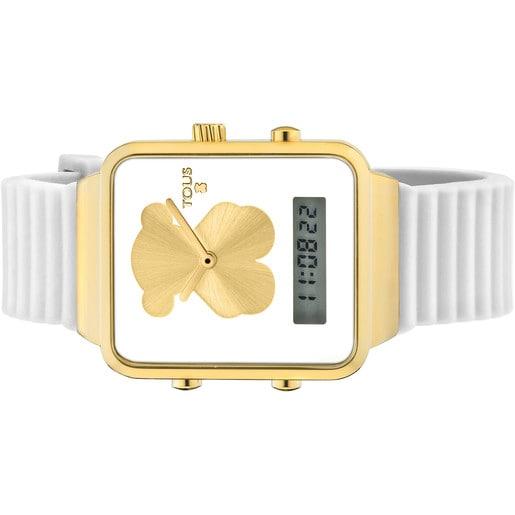 Reloj digital I-Bear de acero IP dorado con correa de silicona blanca