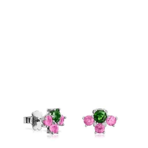 Σκουλαρίκια Real Sisy από Τιτάνιο με Ρουμπίνια και Χρώμιο Διοψίδιο