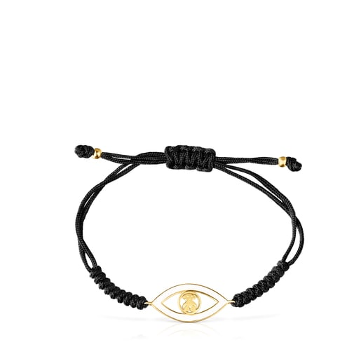 Silver Vermeil TOUS Good Vibes eye Bracelet with black Cord