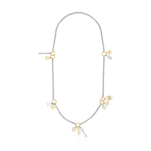Long two-toned Steel TOUS Good Vibes Necklace