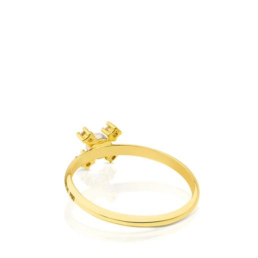 Anel Eklat em Ouro com Diamante e Pérola