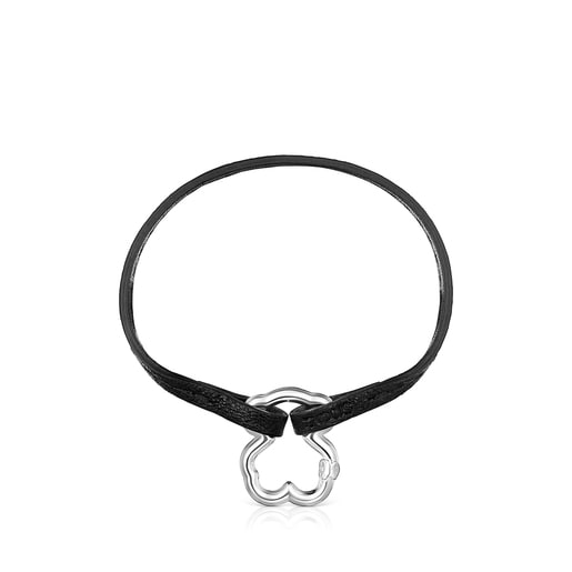 Hold Silver Bear Bracelet with black Cord