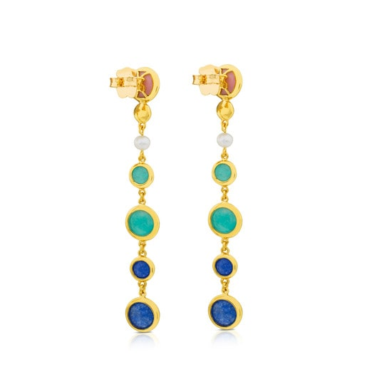 Vermeil Silver Alecia Earrings with Amazonite, Rose Opal, Dumortierite and Pearl
