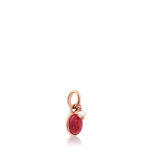 Pingente Tiny em Prata Vermeil rosa com Rodonite e Pérola